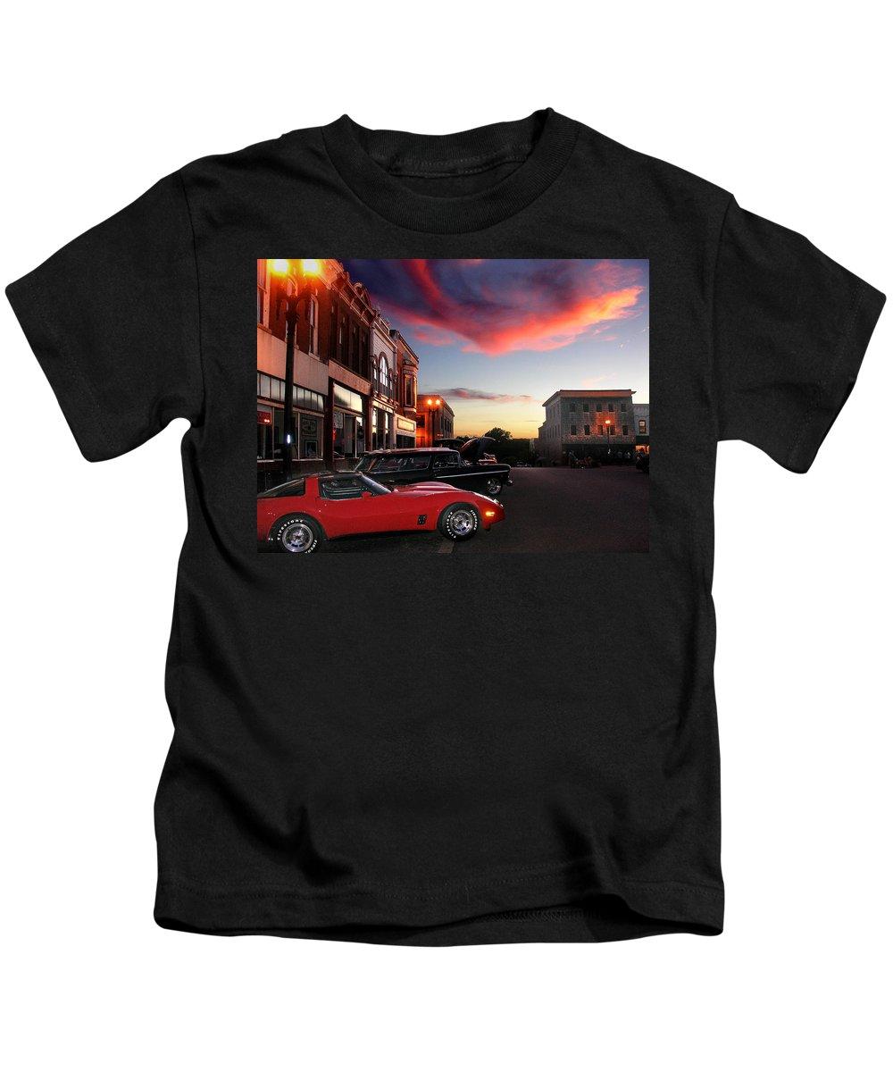 Car Kids T-Shirt featuring the photograph Hot Night by Steve Karol