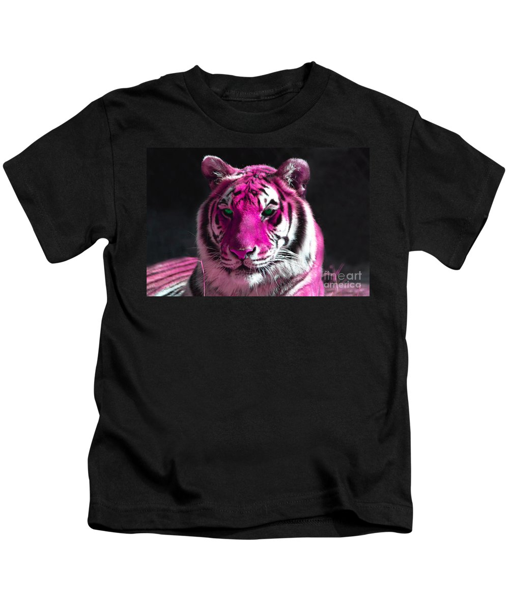 Hot Pink Tiger Kids T-Shirt featuring the photograph Hot Pink Tiger by Rebecca Margraf