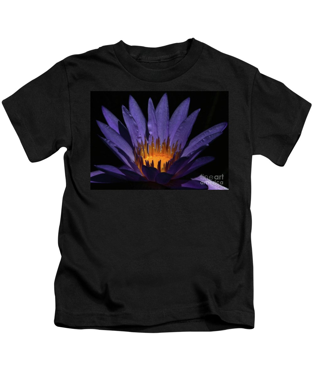 Water Lily Kids T-Shirt featuring the photograph Hot Purple Water Lily by Sabrina L Ryan