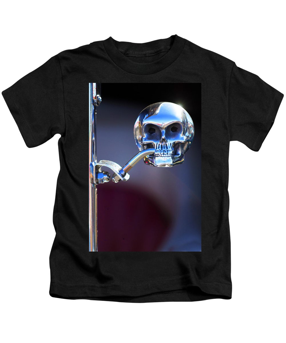 Car Kids T-Shirt featuring the photograph Hot Rod Skull Rear View Mirror by Jill Reger