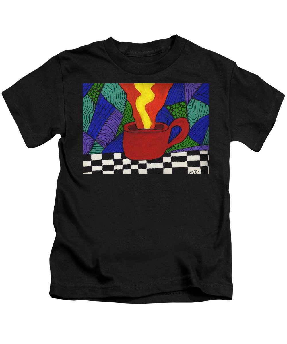 Tea Kids T-Shirt featuring the painting Hot Spot Of T by Wayne Potrafka