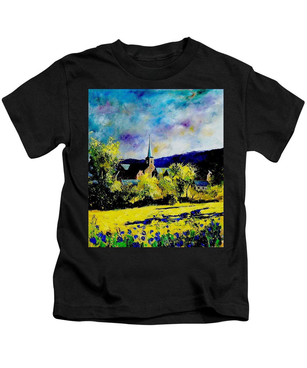 Poppies Kids T-Shirt featuring the painting Hour Village Belgium by Pol Ledent