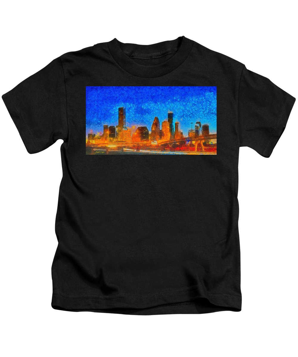 Houston Skyline Kids T-Shirt featuring the painting Houston Skyline 40 - Pa by Leonardo Digenio