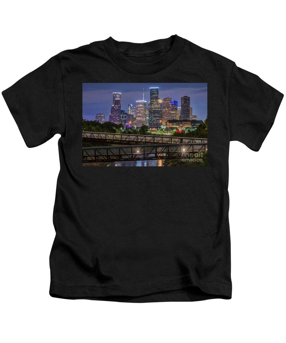 Houston Skyline Kids T-Shirt featuring the photograph Houston Skyline Over Buffalo Bayou At Twilight by Tod and Cynthia Grubbs