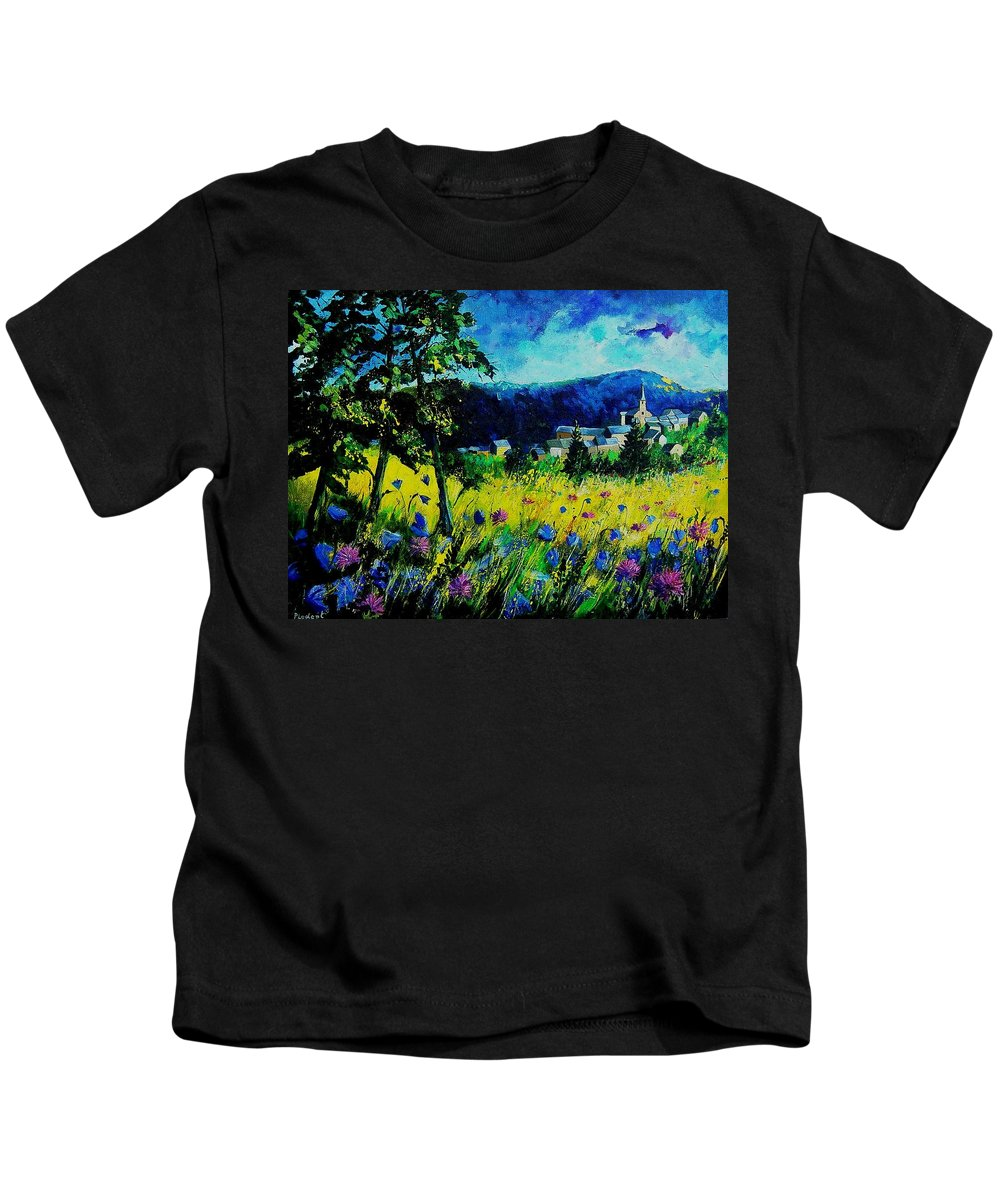 Flowers Kids T-Shirt featuring the painting Houyet 68 by Pol Ledent