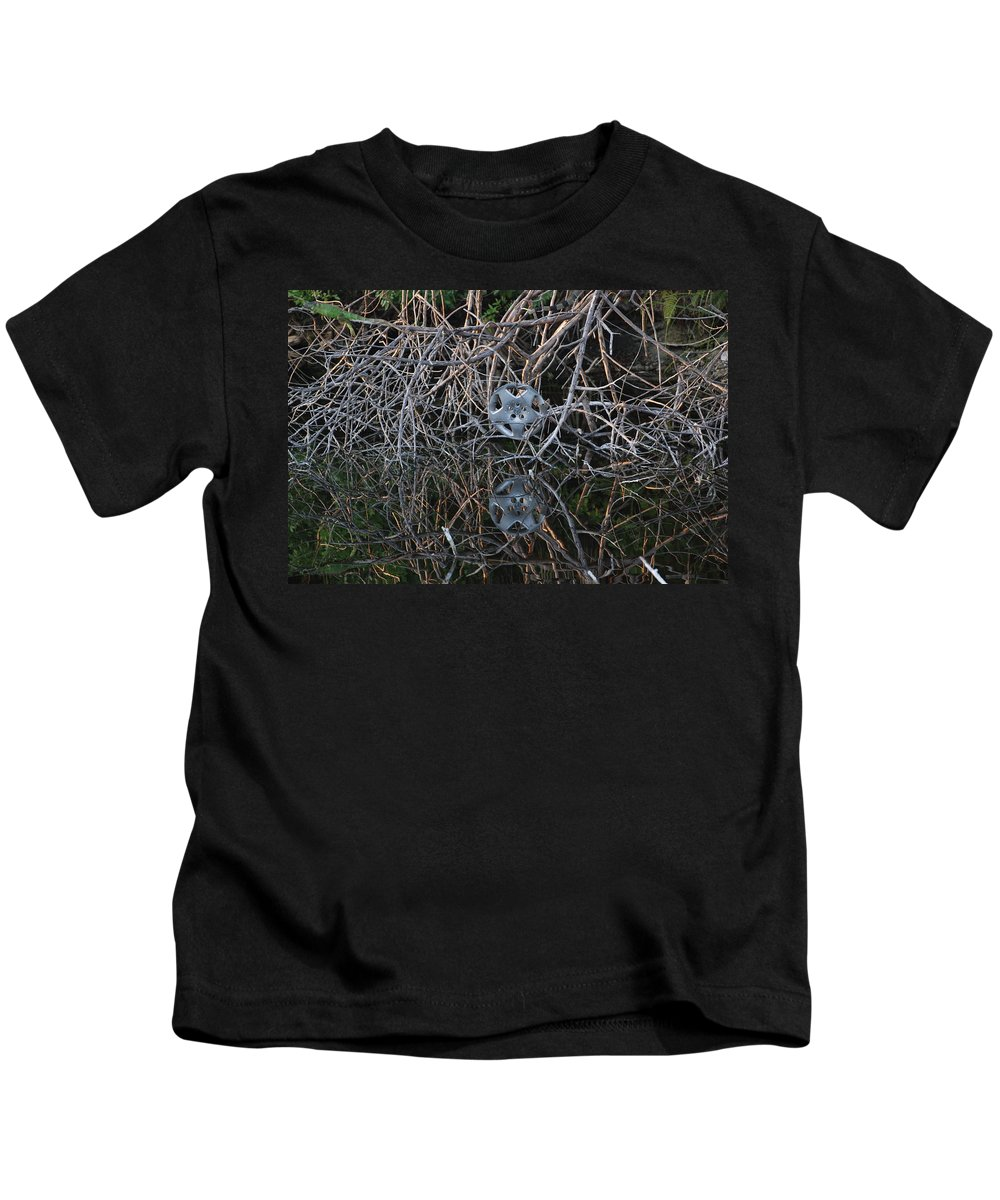 Hub Cap Kids T-Shirt featuring the photograph Hub In Reflection by Rob Hans