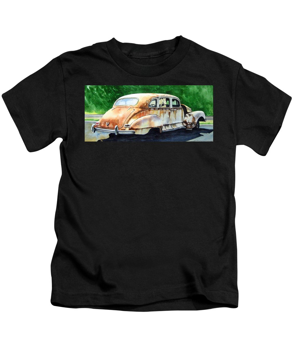Hudson Car Rust Restore Kids T-Shirt featuring the painting Hudson Waiting For a New Start by Ron Morrison