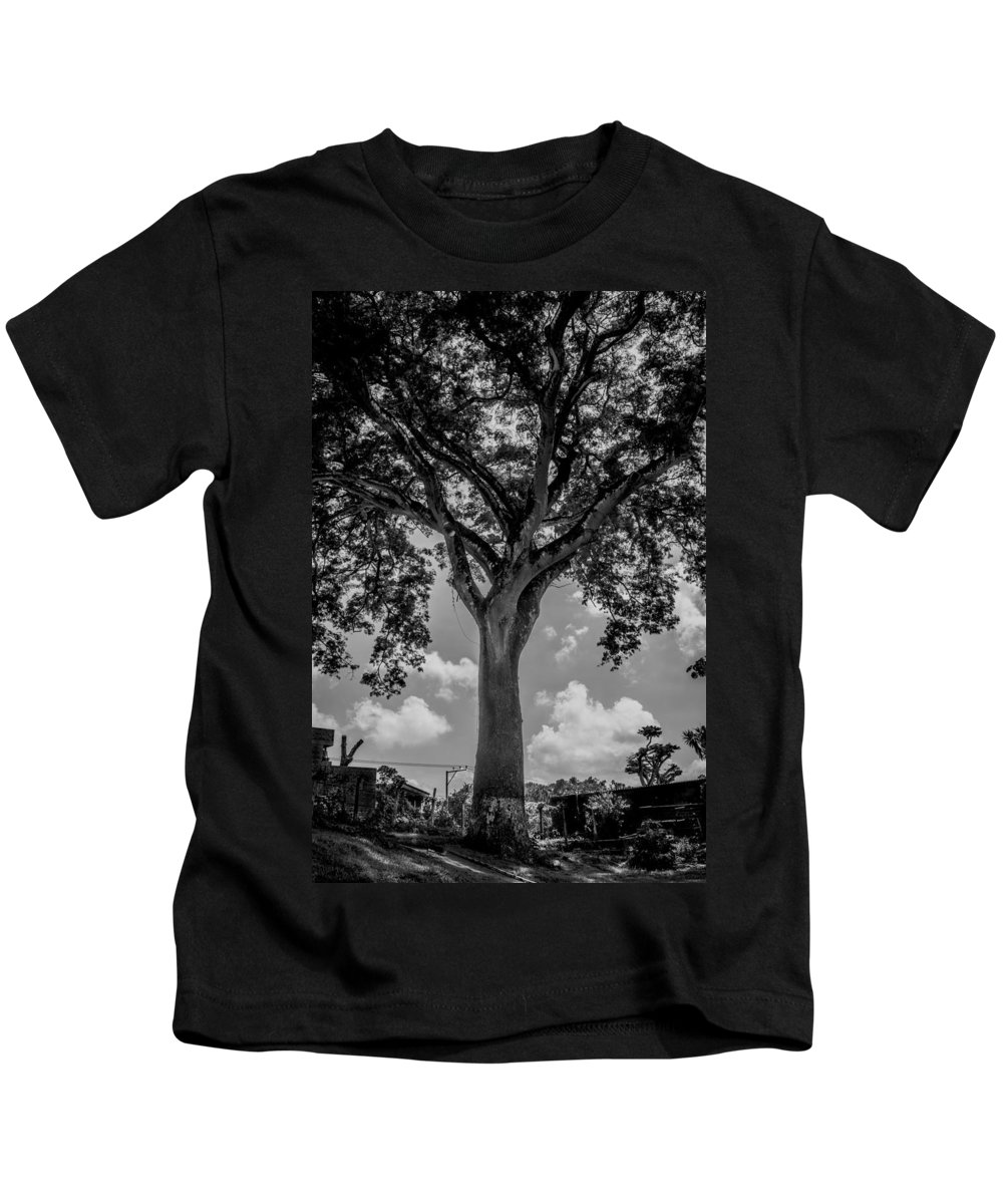 Black And White Kids T-Shirt featuring the photograph Huge Tree 12 by Totto Ponce