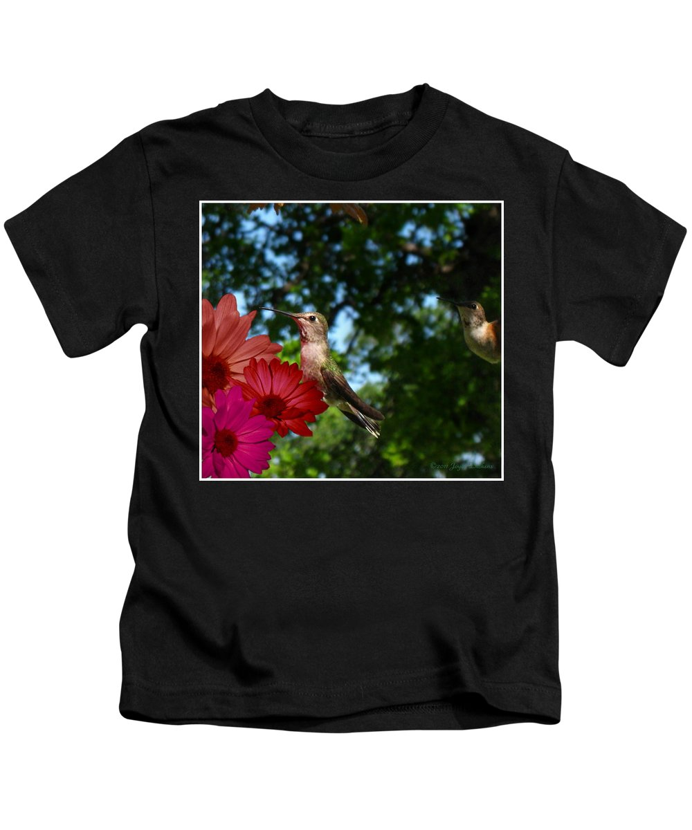 Bird Kids T-Shirt featuring the photograph Hummers And Colored Daisies by Joyce Dickens
