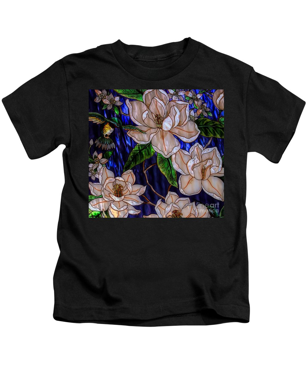 Stained Glass Kids T-Shirt featuring the photograph Hummingbird Stained Glass by Paulette Thomas