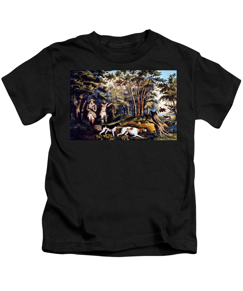 19th Century Kids T-Shirt featuring the photograph Hunting: Woodcock, 1852 by Granger