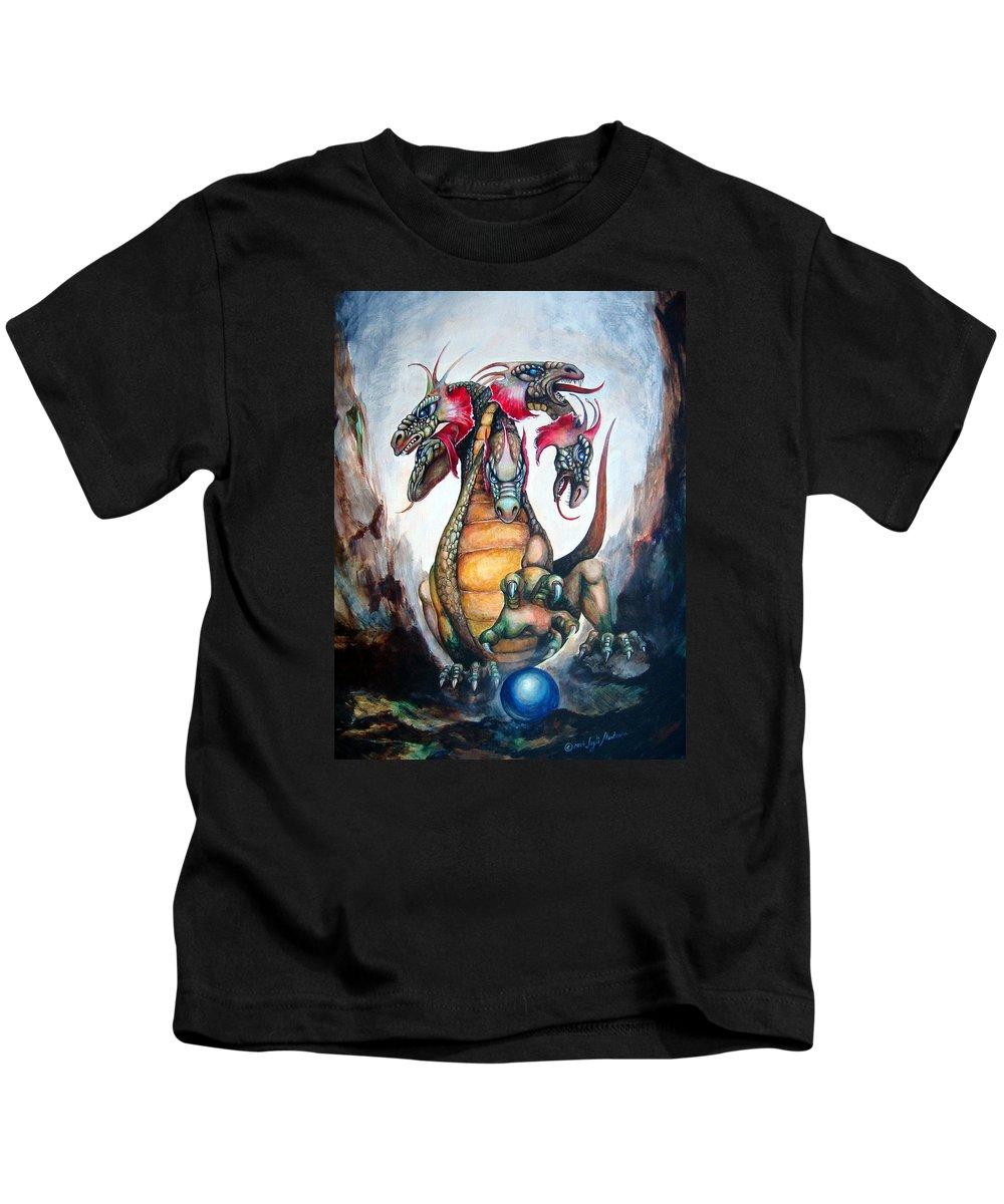 Hydra Kids T-Shirt featuring the painting Hydra by Leyla Munteanu