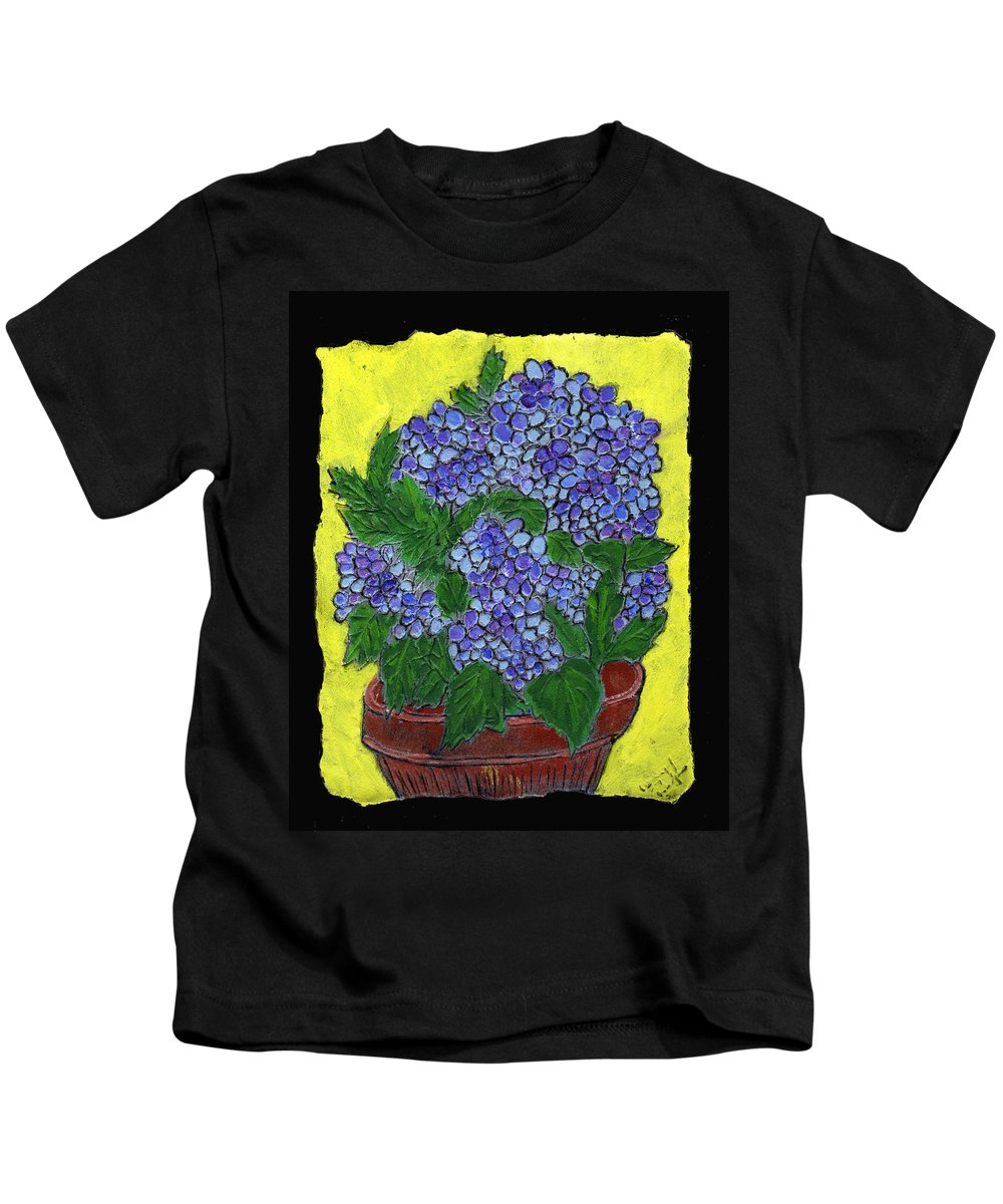 Flower Kids T-Shirt featuring the painting Hydrangea In A Pot by Wayne Potrafka