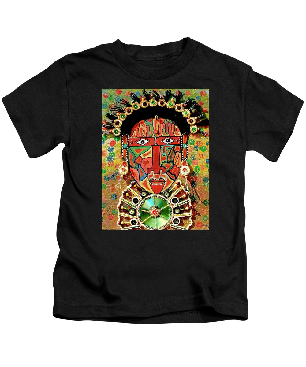 True African Art Kids T-Shirt featuring the painting Hypnotizing Child by Gathinja