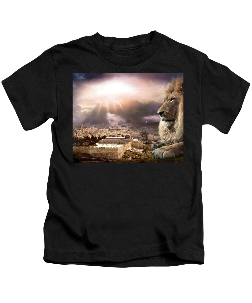 Lions Kids T-Shirt featuring the digital art I Am by Bill Stephens
