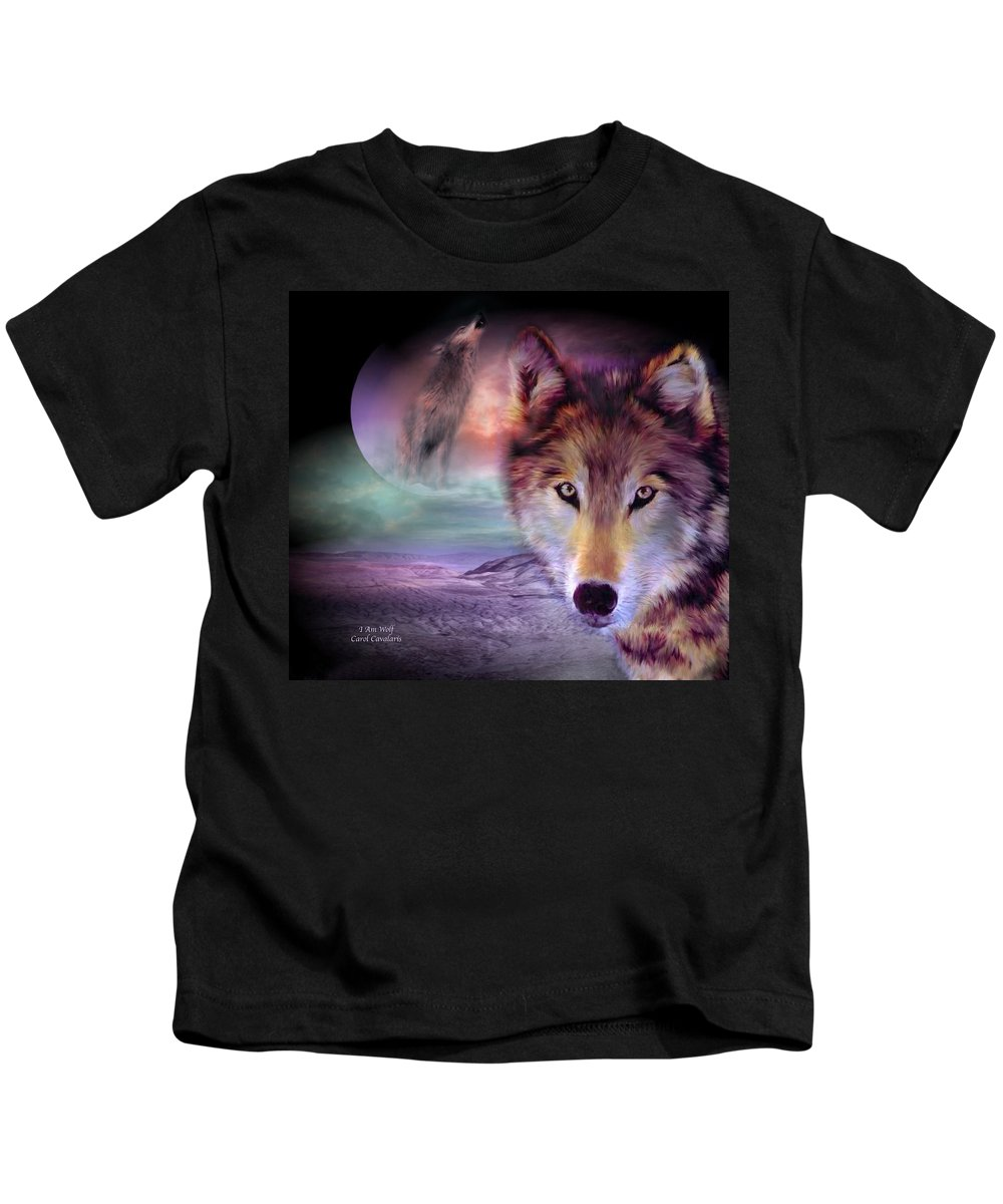 Wolf Kids T-Shirt featuring the mixed media I Am Wolf by Carol Cavalaris