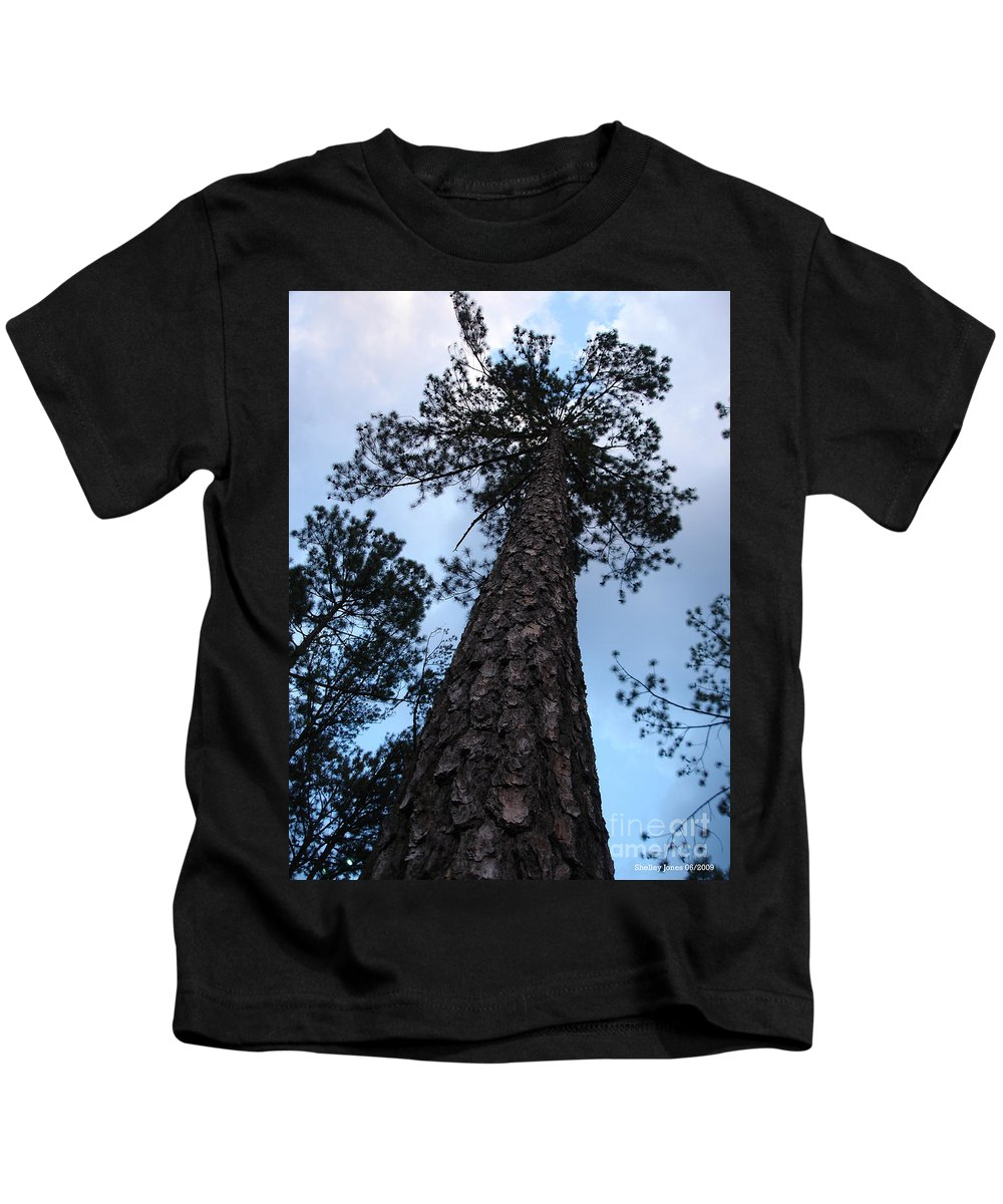 Tree Kids T-Shirt featuring the photograph I Can Touch The Sky.... Can You by Shelley Jones