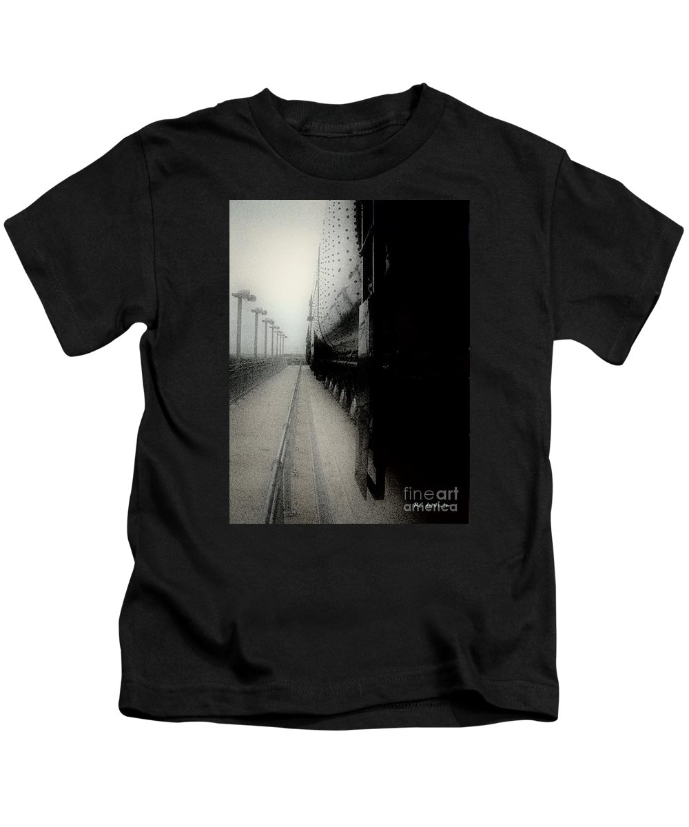 Train Kids T-Shirt featuring the digital art I Hear That Lonesome Whistle Blow by RC deWinter