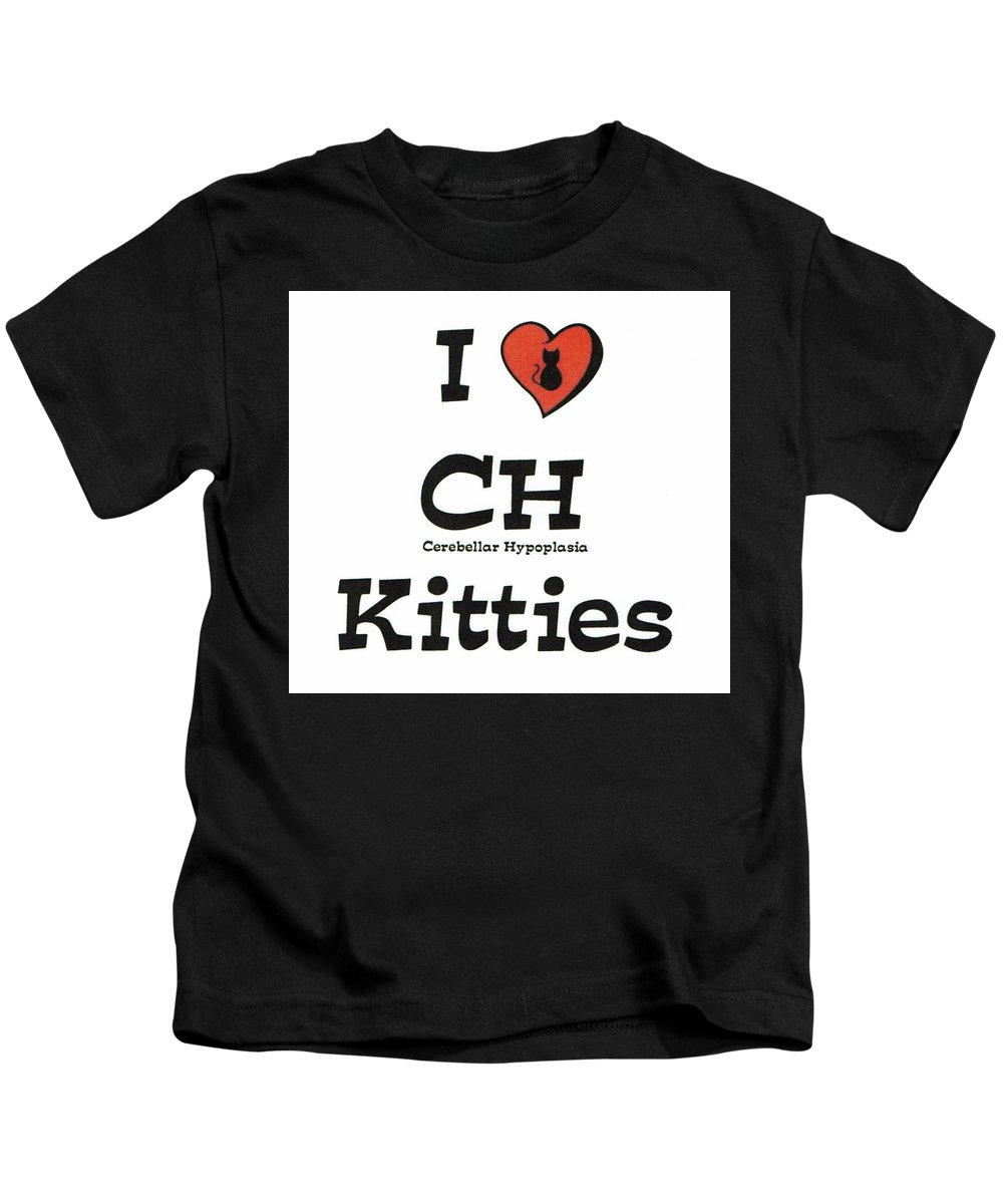 Ch Awareness Kids T-Shirt featuring the painting I Love Ch Kitties Awareness by Deborah Martin