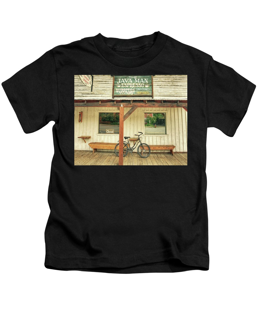 Bicycle Kids T-Shirt featuring the photograph I Need Coffee by Darrel Giesbrecht
