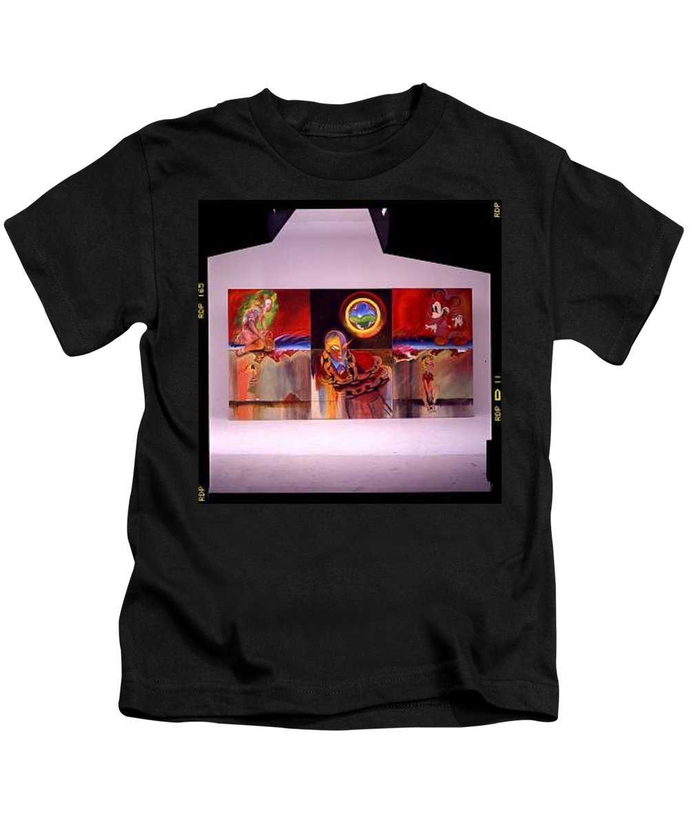 Spiderman Kids T-Shirt featuring the painting I Saw The Figure Five In Gold by Charles Stuart
