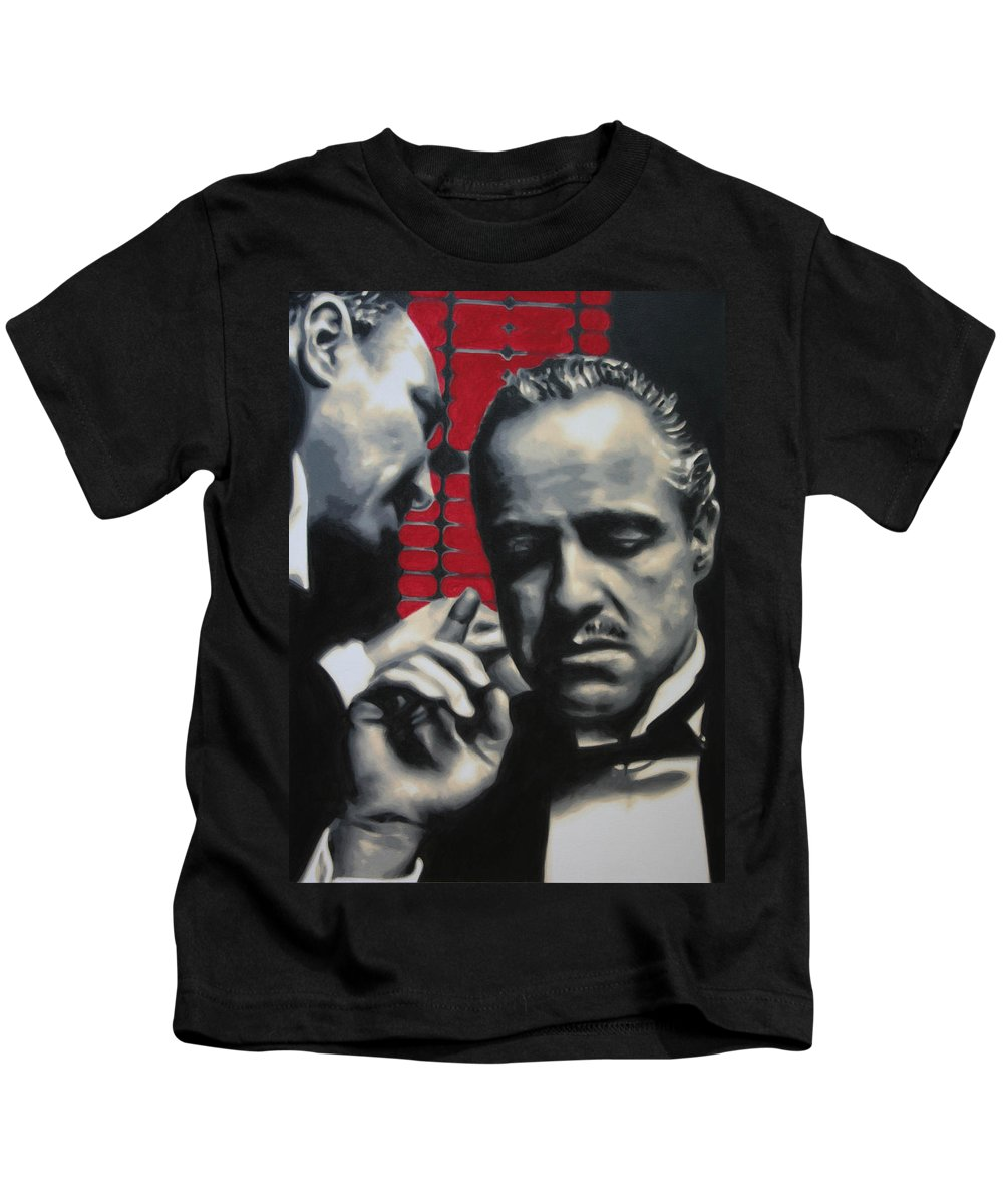 The Godfather Kids T-Shirt featuring the painting I Want You To Kill Him 2013 by Luis Ludzska