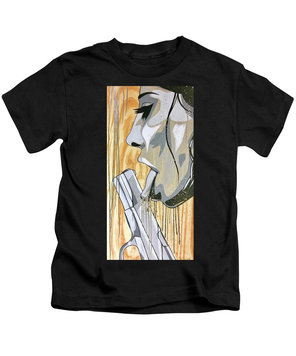 Street Art Kids T-Shirt featuring the painting I Was A Teenage Hand Model by Bobby Zeik