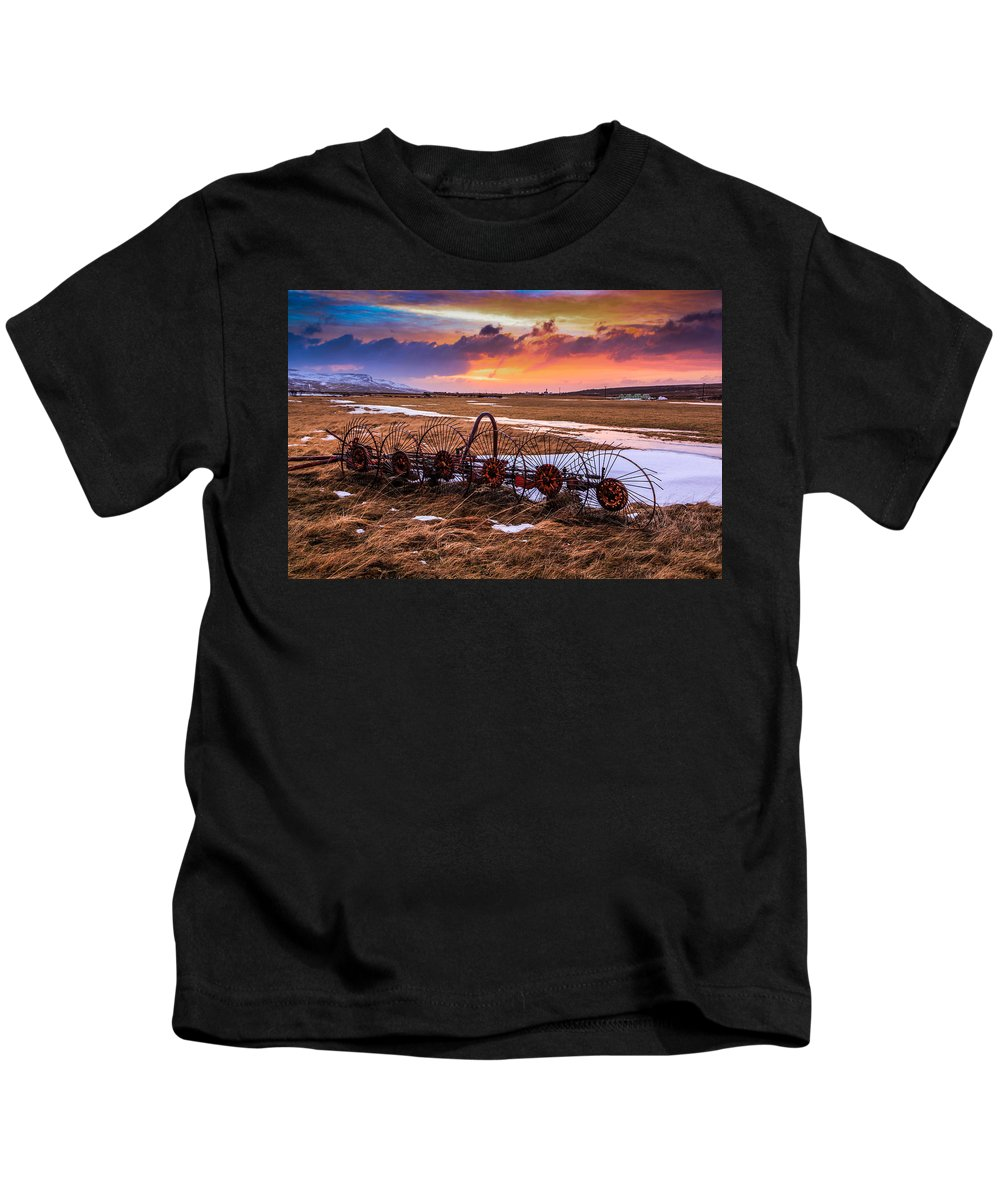 Sunset Kids T-Shirt featuring the photograph Iceland Sunset # 1 by Tom and Pat Cory