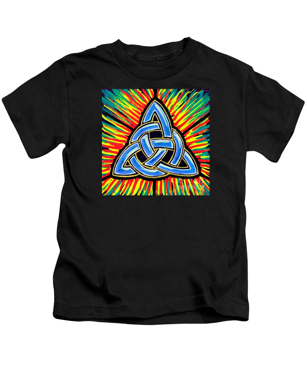 Trinity Kids T-Shirt featuring the painting Icon Celtic Trinity by Jim Harris