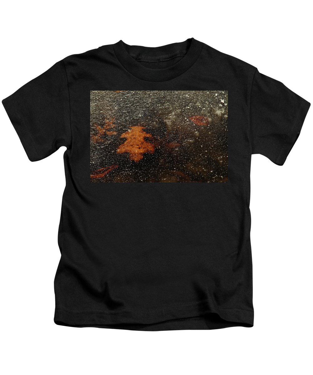 Leaf Kids T-Shirt featuring the photograph Icy Leaf by Michael McGowan