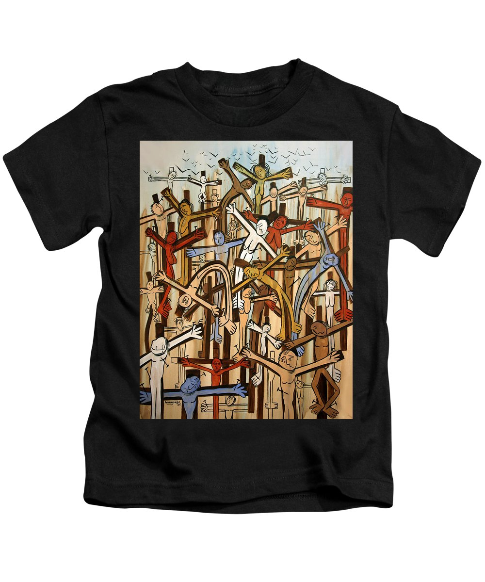 Crucified Jesus God Holy Spirit Christian Art Angels Holy Cubism Cubist Cubestraction Expressionism Fine Art Canvas Prints Fine Art Giclee Prints Acrylic Prints Original Painting Colorful Digital Green Red Blue Orange Brown Savior Cross Stars Anthony Falbo Falboart Famous Artist Famous Kids T-Shirt featuring the painting If There Was No Savior by Anthony Falbo