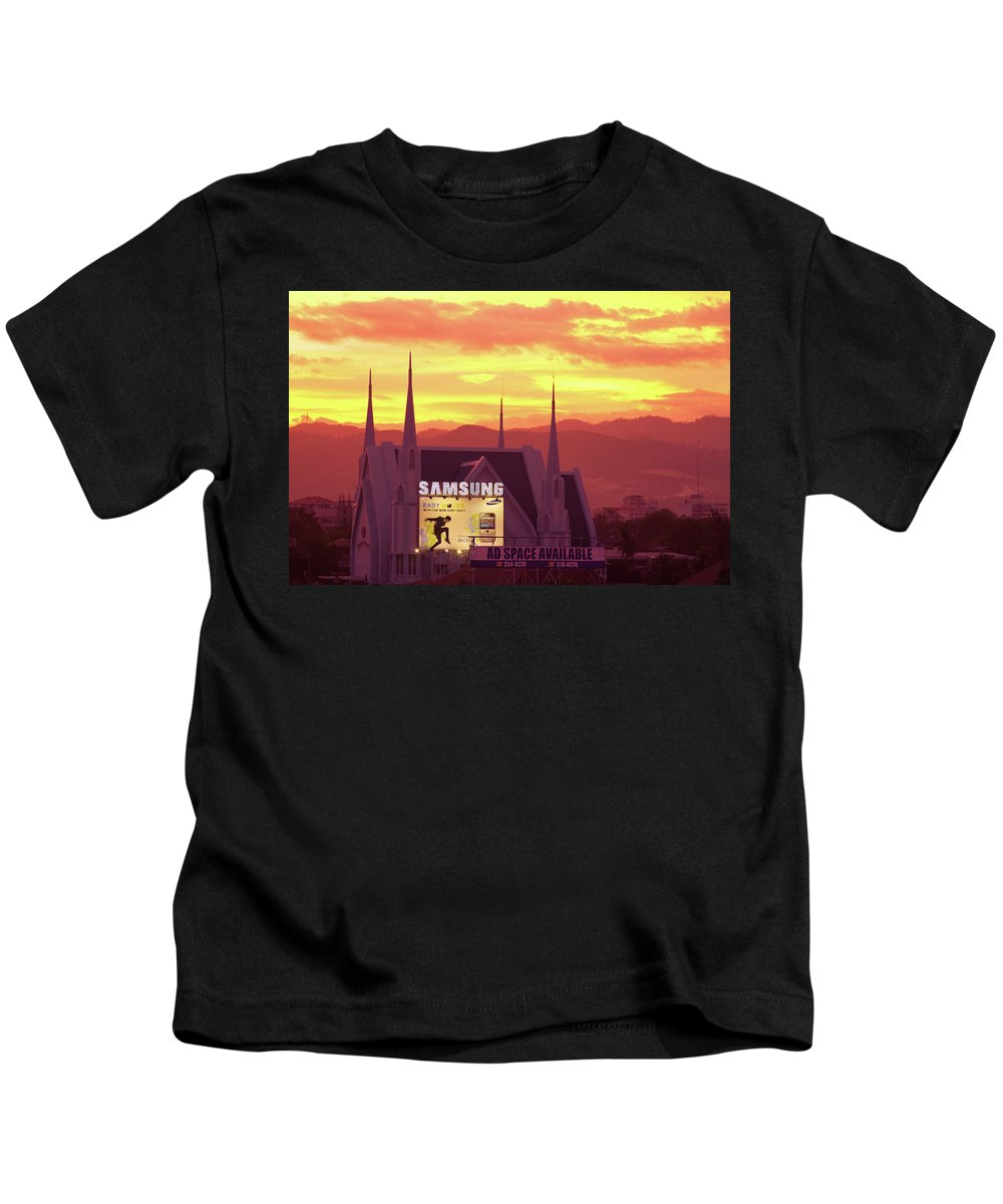 Insogna Kids T-Shirt featuring the photograph Iglesia Ni Cristo Sunset Cebu City Philippines by James BO Insogna
