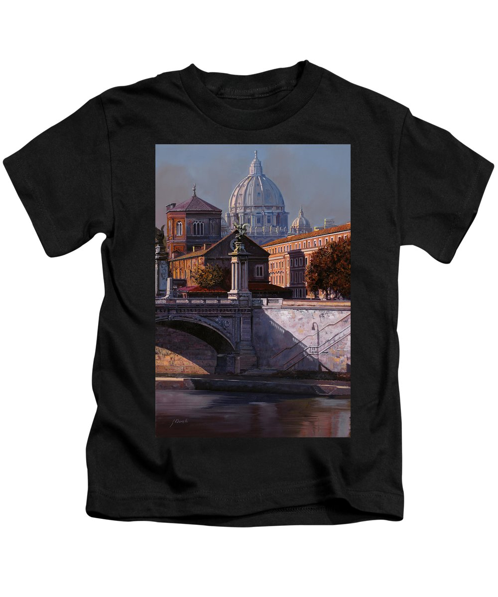 Rome Kids T-Shirt featuring the painting Il Cupolone by Guido Borelli