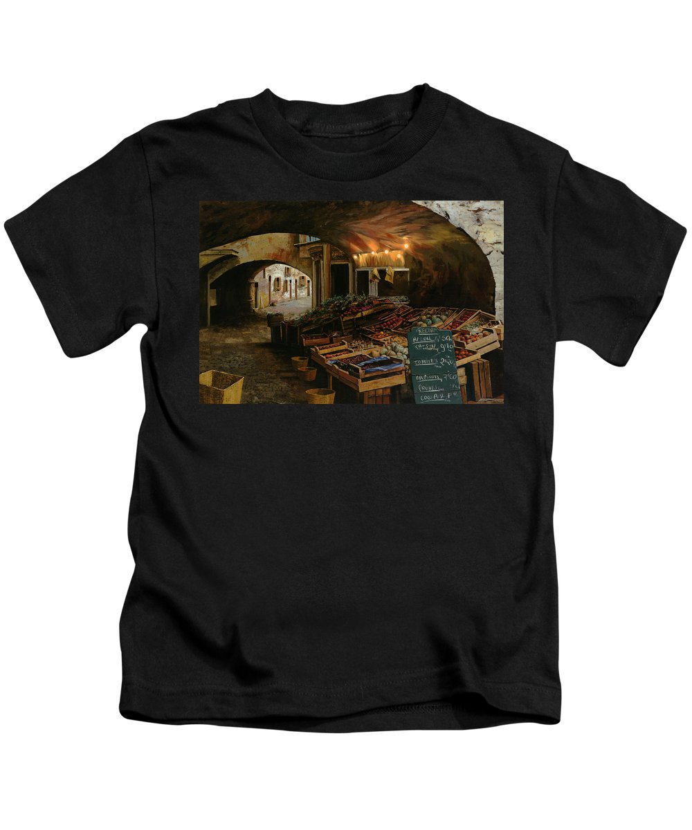 Market Kids T-Shirt featuring the painting Il Mercato Francese by Guido Borelli