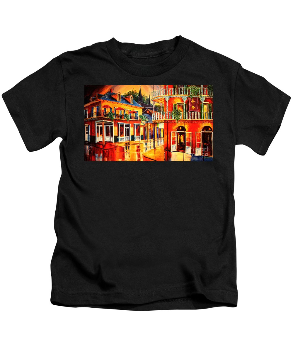 New Orleans Kids T-Shirt featuring the painting Images Of The French Quarter by Diane Millsap