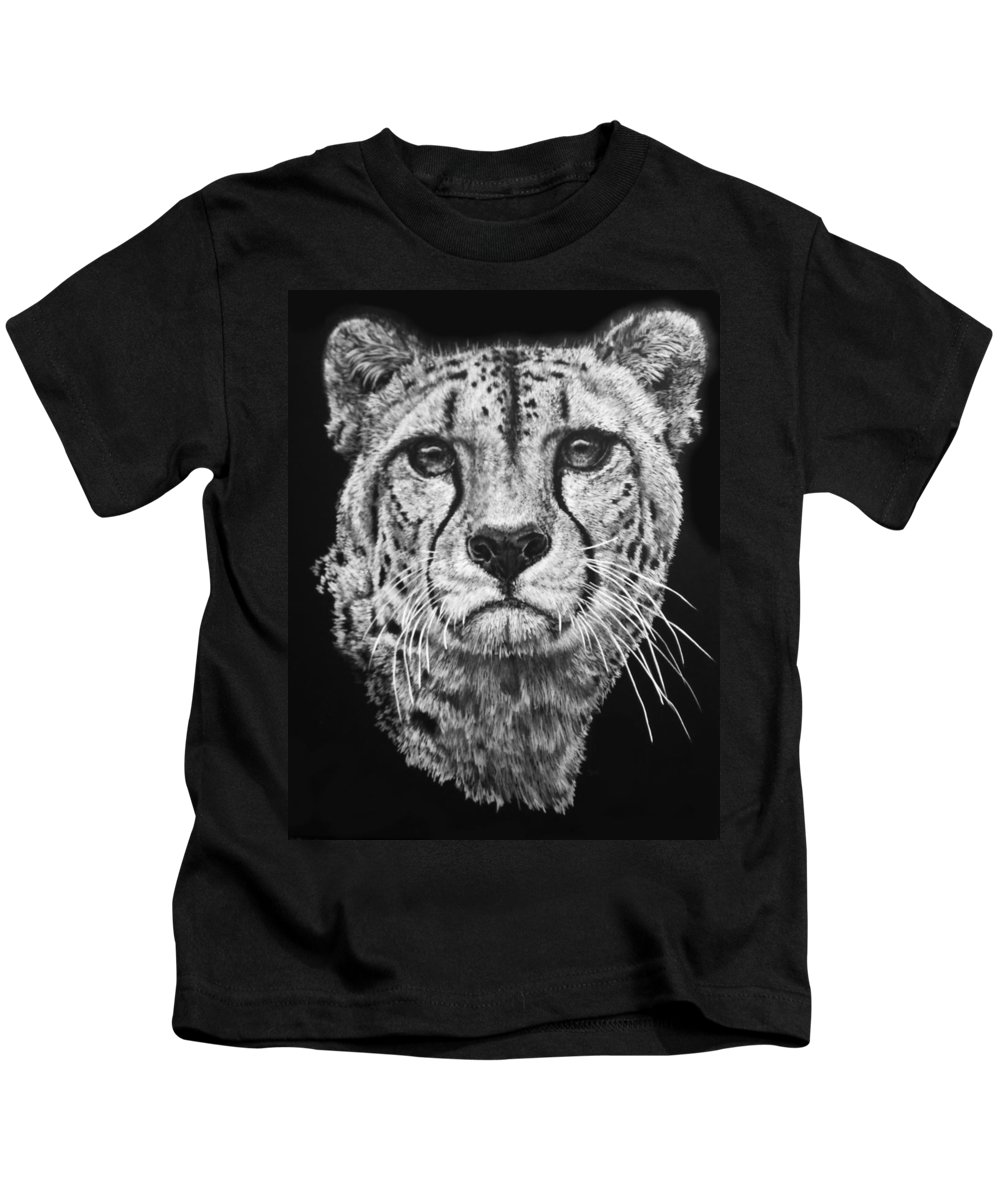 Cheetah Kids T-Shirt featuring the mixed media Imperial by Barbara Keith