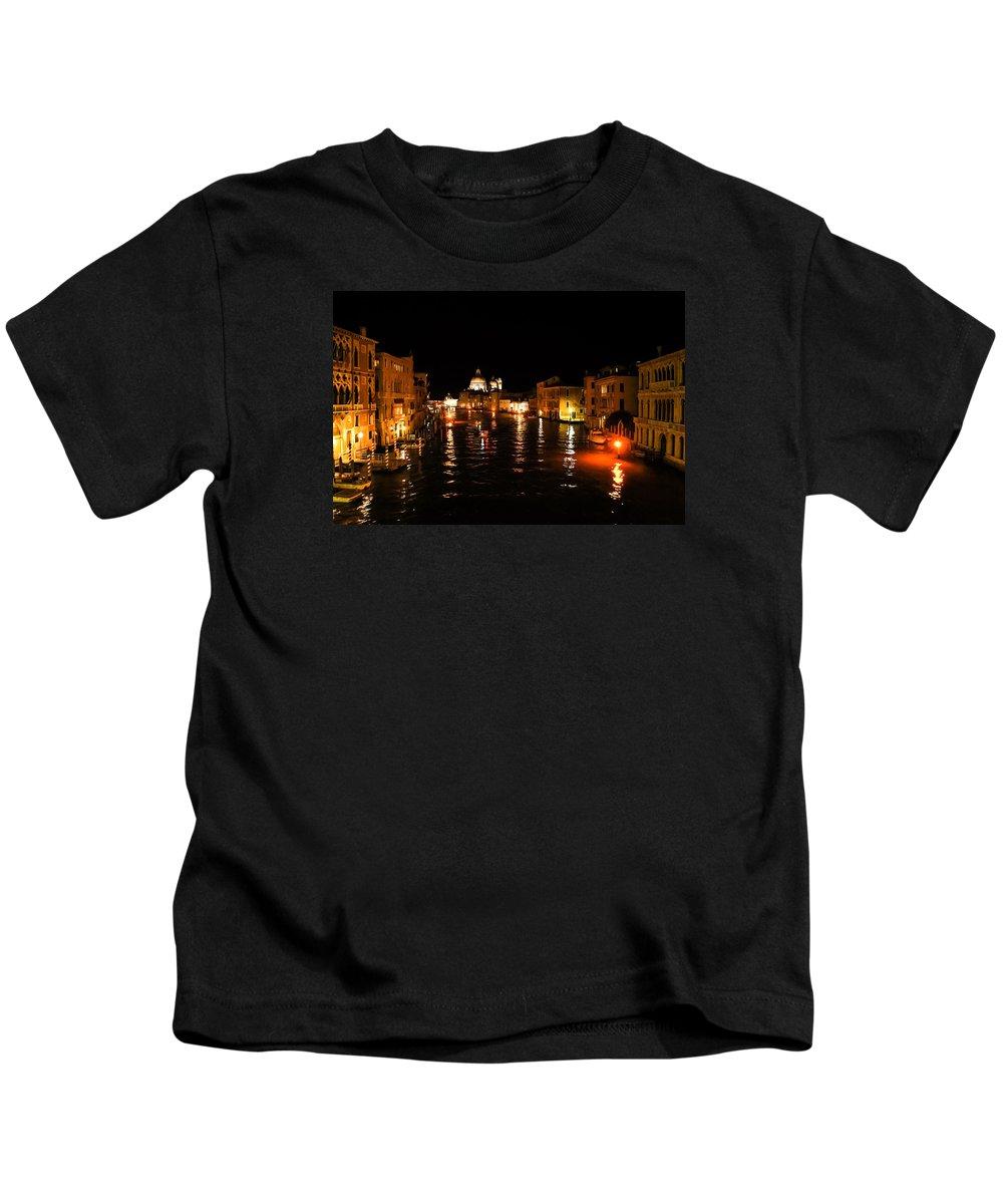 Georgia Mizuleva Kids T-Shirt featuring the digital art Impressions Of Venice - Grand Canal Gold by Georgia Mizuleva