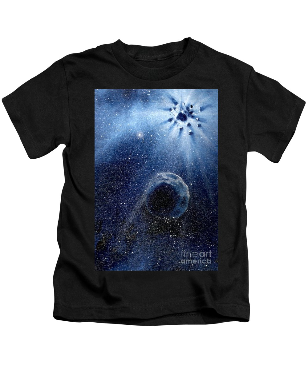 Outerspace Kids T-Shirt featuring the painting Impressive Impact by Murphy Elliott