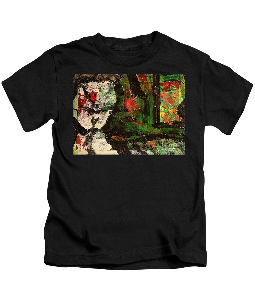 Art Kids T-Shirt featuring the painting Impro2 by Uwe Hoche
