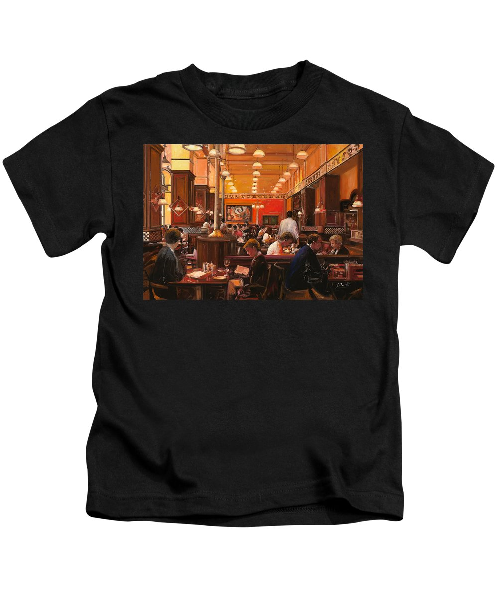 Coffee Shop Kids T-Shirt featuring the painting In Birreria by Guido Borelli