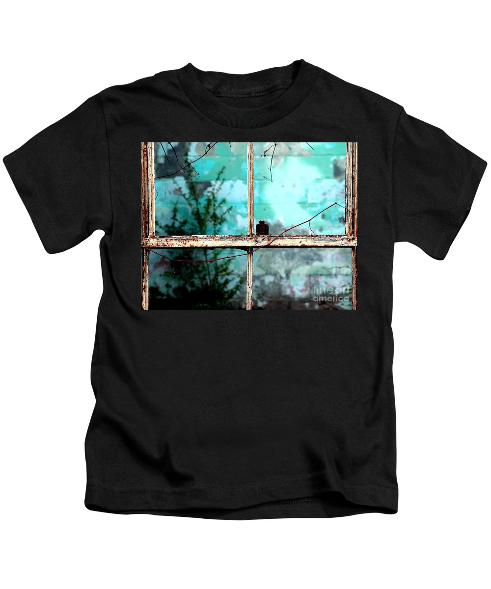Windows Kids T-Shirt featuring the photograph In Or Out by Amanda Barcon
