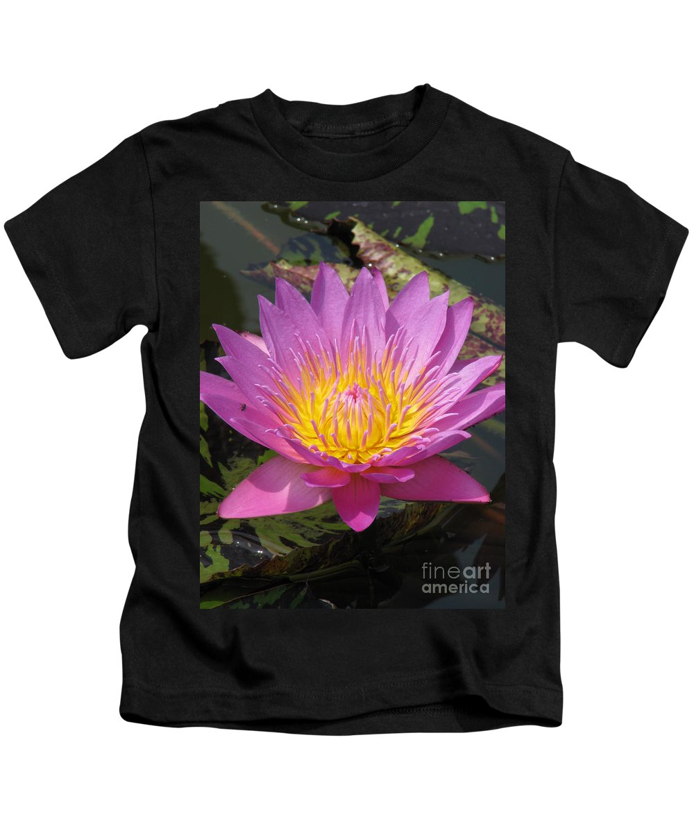 Lotus Kids T-Shirt featuring the photograph In Position by Amanda Barcon