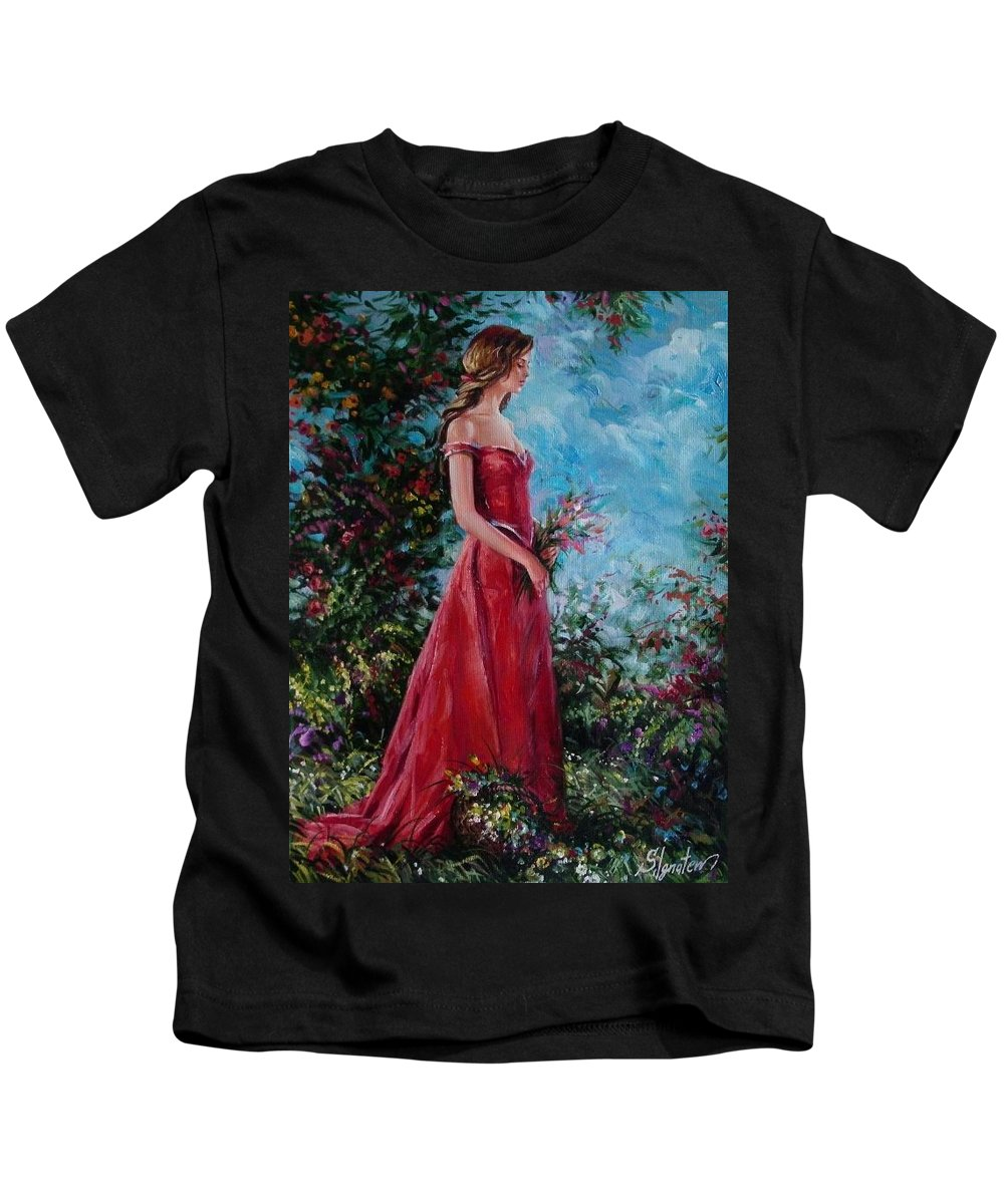 Figurative Kids T-Shirt featuring the painting In Summer Garden by Sergey Ignatenko
