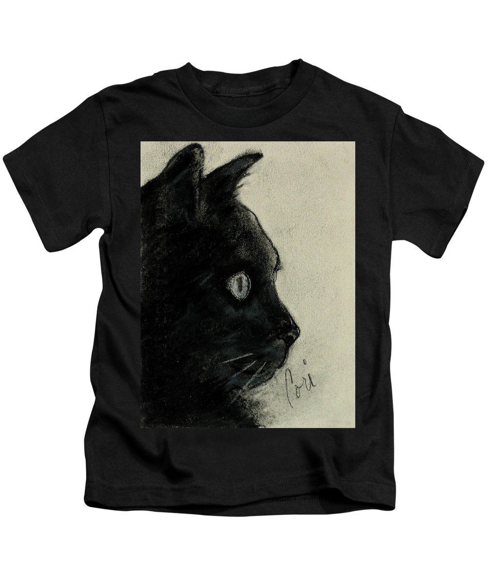 Cat Kids T-Shirt featuring the drawing In The Dark by Cori Solomon
