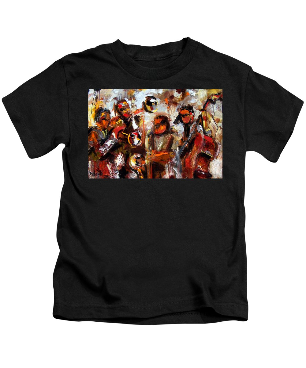 Jazz Art Kids T-Shirt featuring the painting In The Moment by Debra Hurd