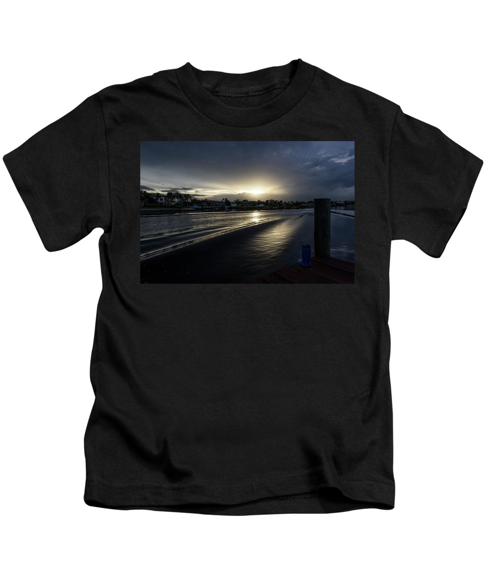Waves Kids T-Shirt featuring the photograph In The Wake Zone by Laura Fasulo