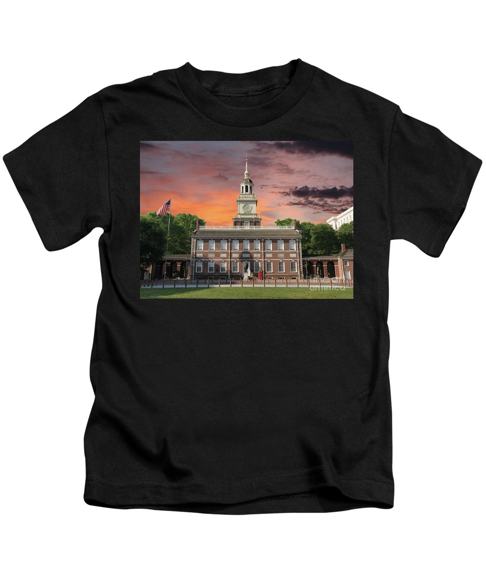 Independence Hall Kids T-Shirt featuring the photograph Independence Hall Philadelphia Sunset by Trekkerimages Photography