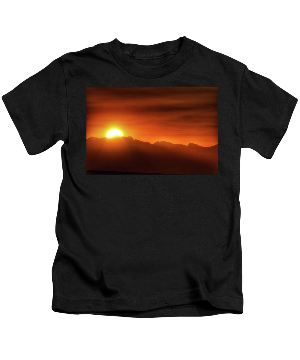 Indian Peaks Kids T-Shirt featuring the photograph Indian Peaks Sunset by Christopher Thomas