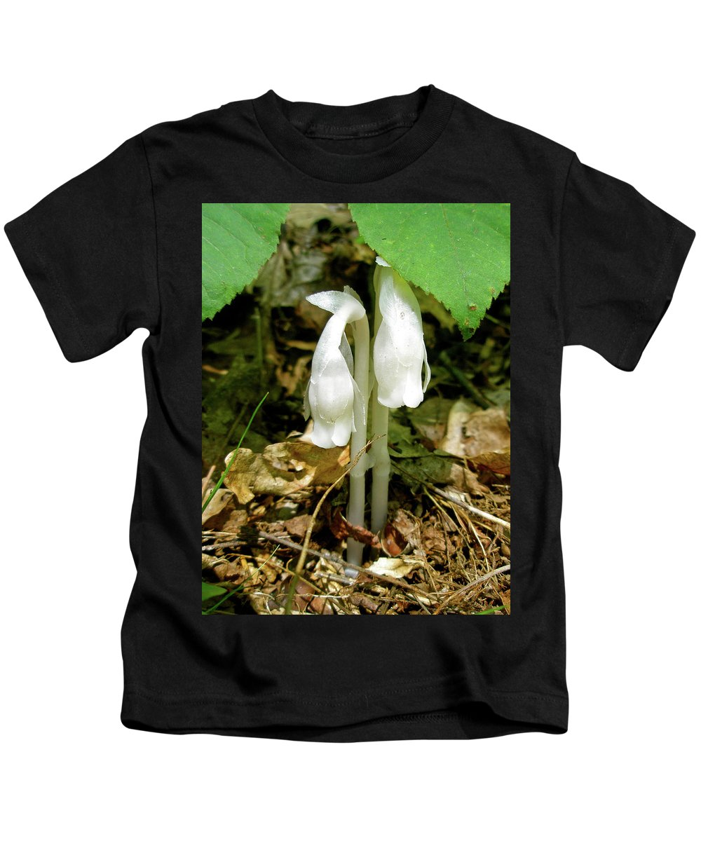 indian Pipes Kids T-Shirt featuring the photograph Indian Pipes - Monotropa Uniflora by Mother Nature