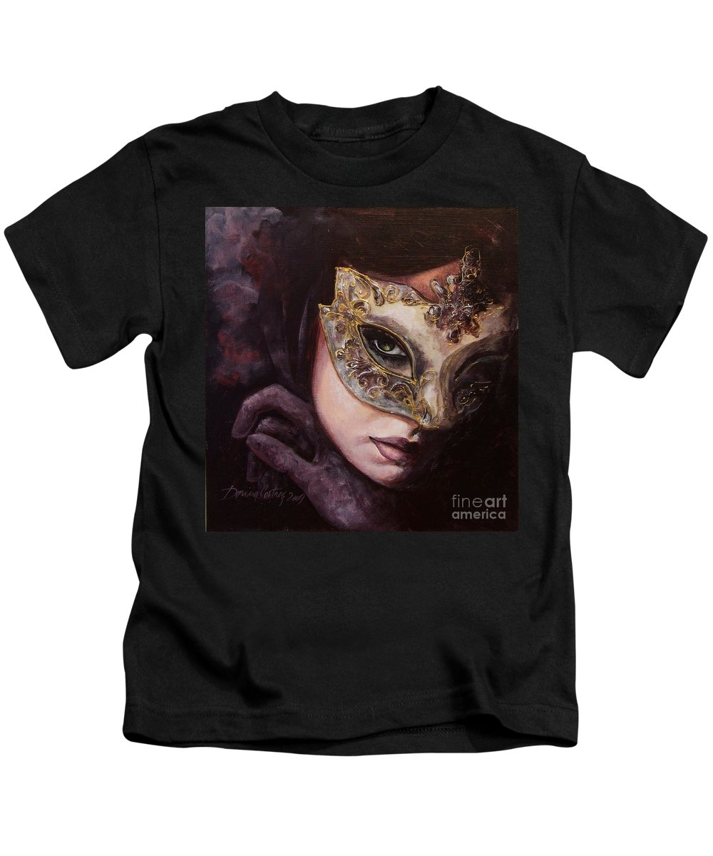 Art Kids T-Shirt featuring the painting Ingredient Of Mystery by Dorina Costras